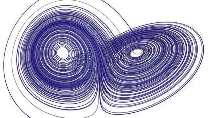 tractor de Lorenz. Sistema tridimensional exhibe un comportamiento caótico.