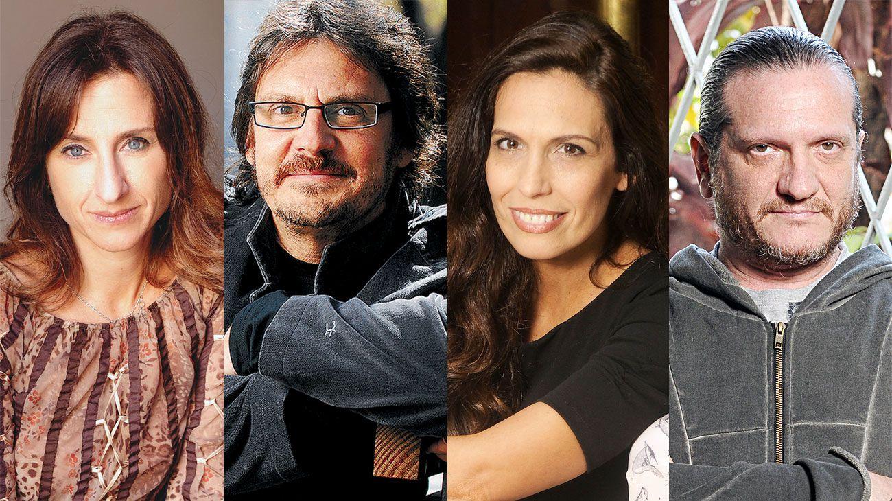 ¿Descanso? De izq. a der.: Gabriela Exilart, Felipe Pigna, Andy Clar y Darío Sztajnszrajber. Algunos autores no se toman vacaciones.