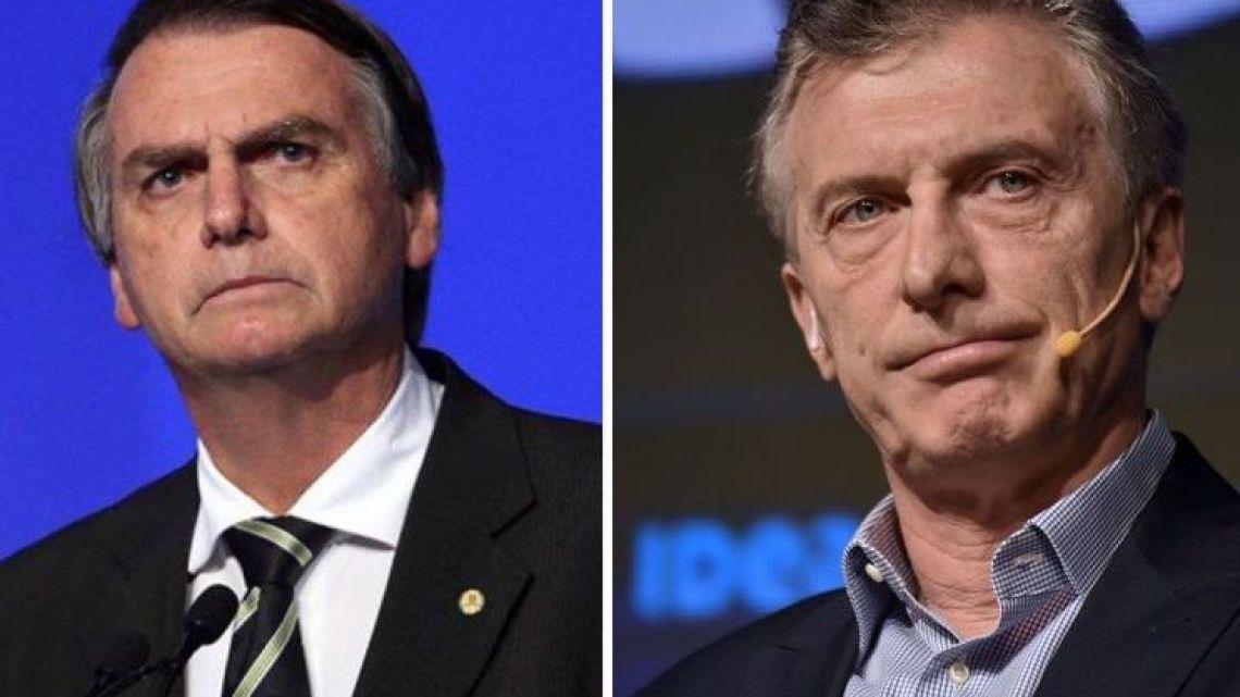 Brazilian President Jair Bolsonaro and Argentine President Mauricio Macri.