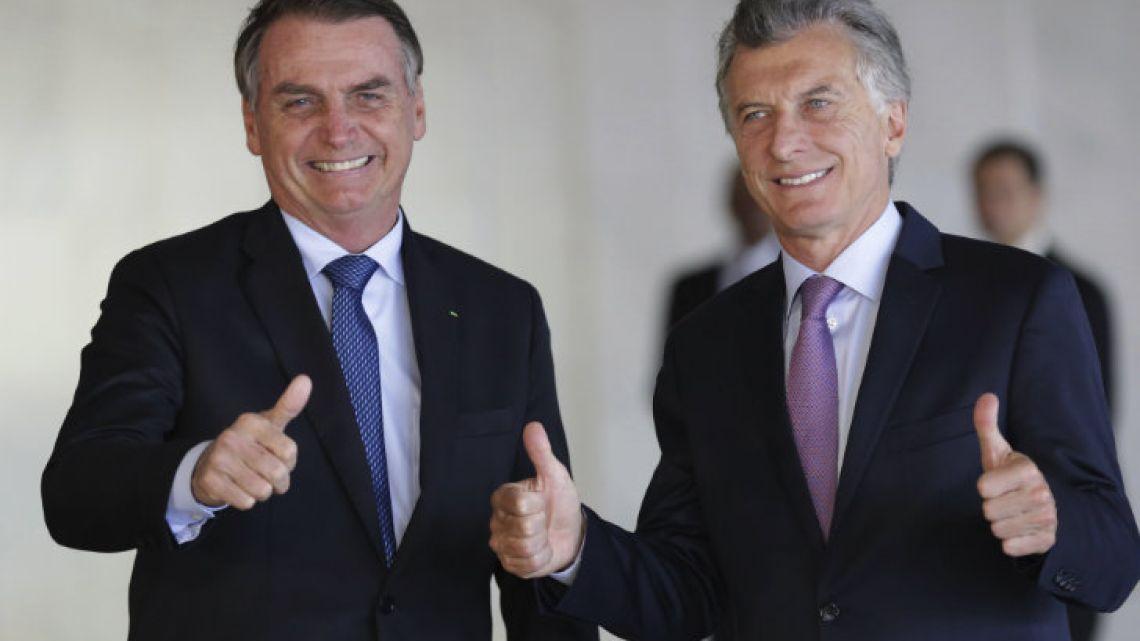Body language between Macri and Bolsonaro suggestst good chemistry.