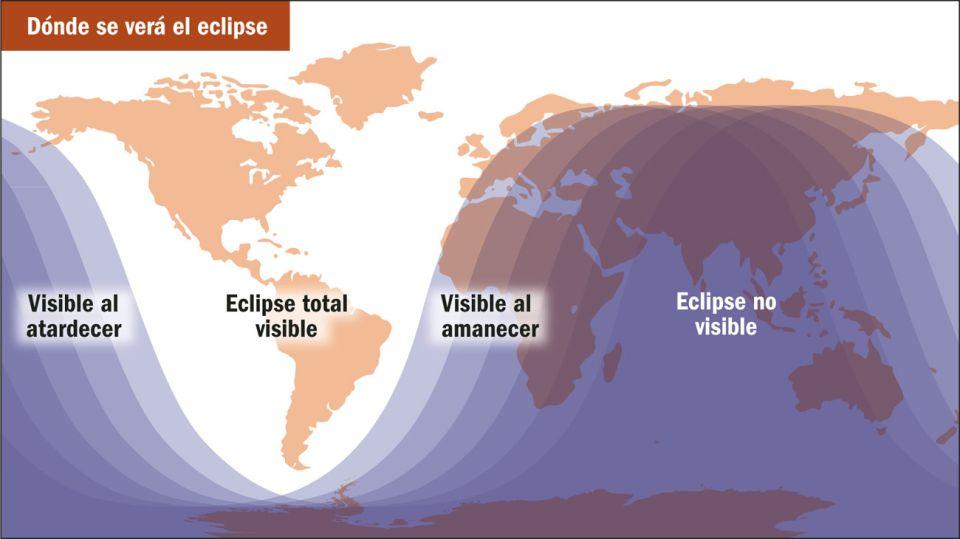Los lugares donde se verá el eclipse lunar.