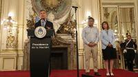 El presidente Mauricio Macri junto a los ministros Patricia Bullrich (Seguridad) y Germán Garavano (Justicia).