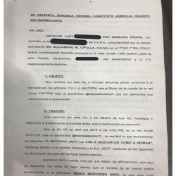 Denuncia de Natacha Jaitt a Mercedes Ninci