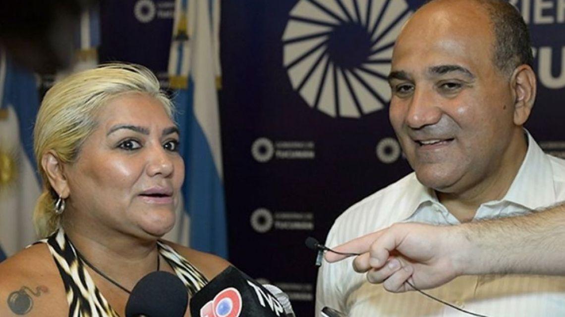 "Singer Gladys ""La Bomba"" Tucumana and Governor Juan Manzur."