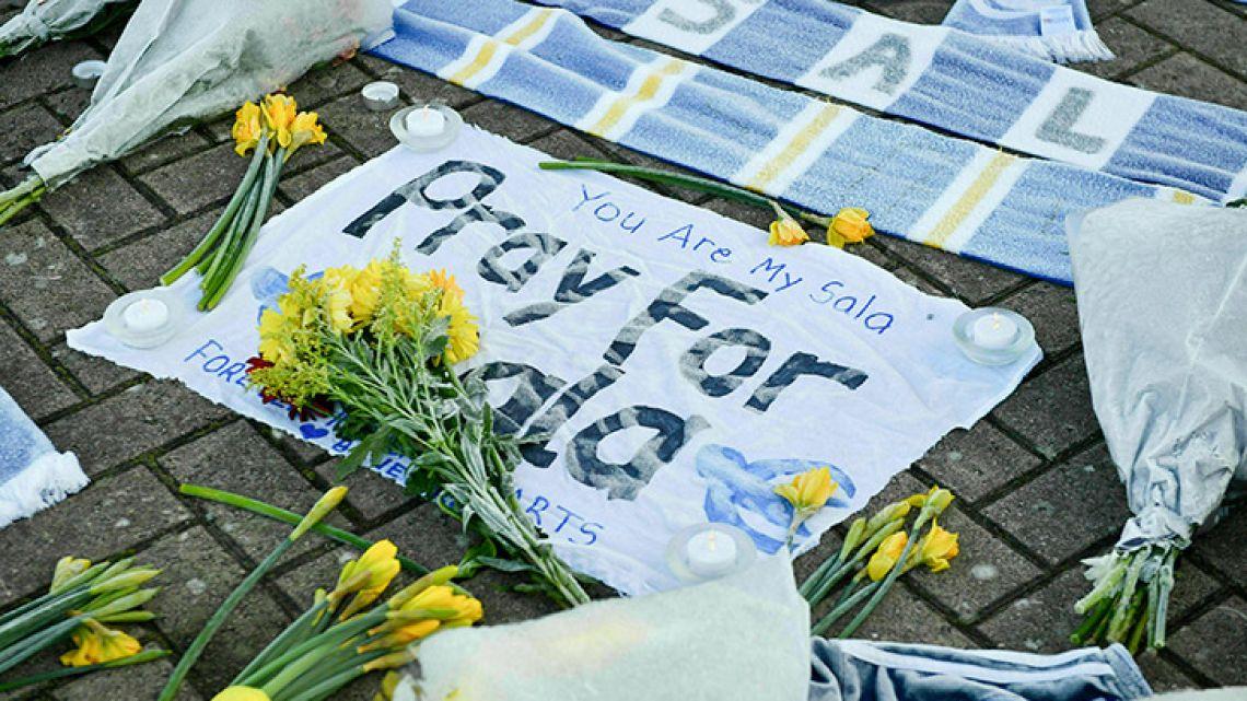 Floral tributes to Emiliano Sala outside Cardiff City's stadium.
