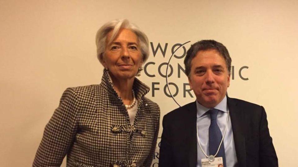 Christine Lagarde y Nicolas Dujovne en Davos