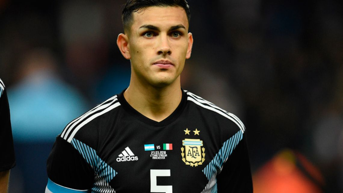 This file photo taken on March 23, 2018 shows Argentina's midfielder Leandro Paredes posing ahead of the International friendly football match between Argentina and Italy in Manchester. Paris Saint-Germain have completed the signing of Argentina midfielder Leandro Paredes on a four-and-a-half-year deal, the French champions announced on January 29, 2019.