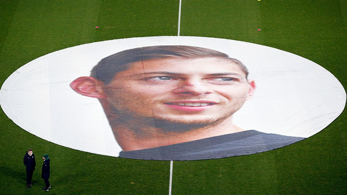 A giant canvas showing Argentine player Emiliano Sala is pictured in La Beaujoire stadium before the French Ligue 1 match Nantes against Saint-Etienne.