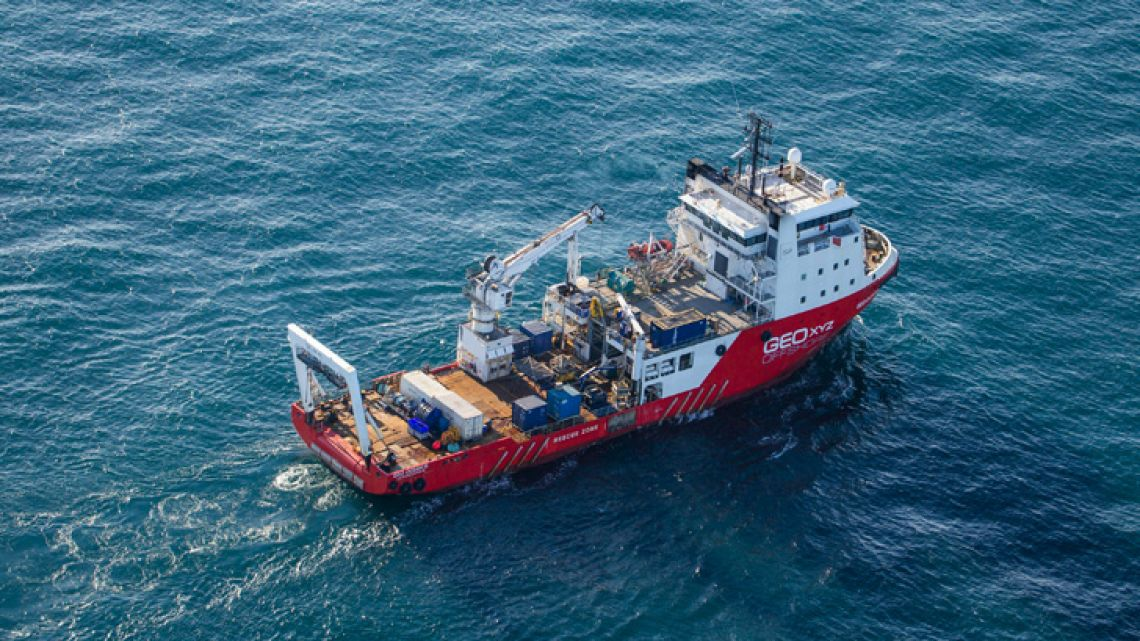 This undated photo issued by Jon Le Ray (@jonnersleray) on Tuesday Feb. 5, 2019, shows the Geo Ocean III specialist search vessel off the coast of Alderney in the English Channel. One body is visible in the seabed wreckage of a plane that went missing carrying Argentine football player Emiliano Sala and his pilot two weeks ago over the English Channel.