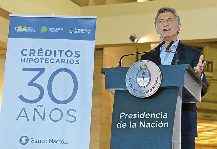 El presidente Mauricio Macri en uno de los anuncios referidos a los crédito hipotecarios UVA.