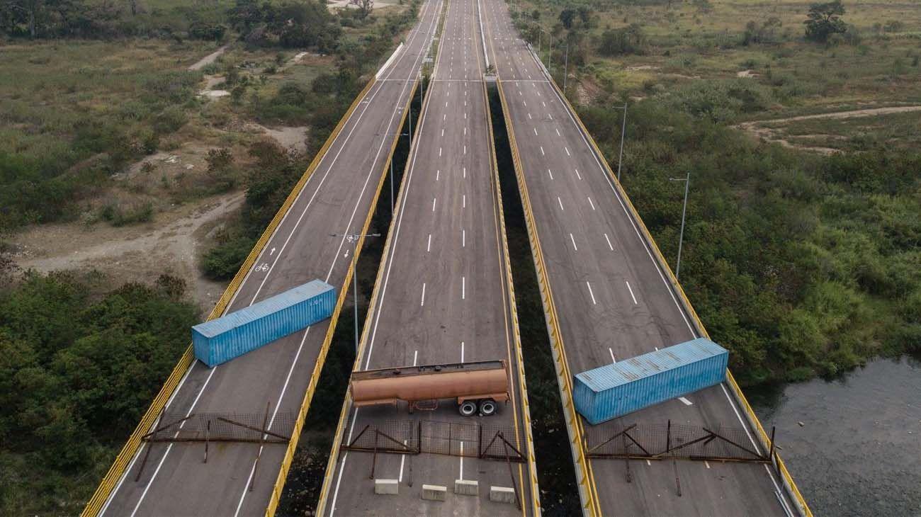 Bloqueo en puente fronterizo en Venezuela