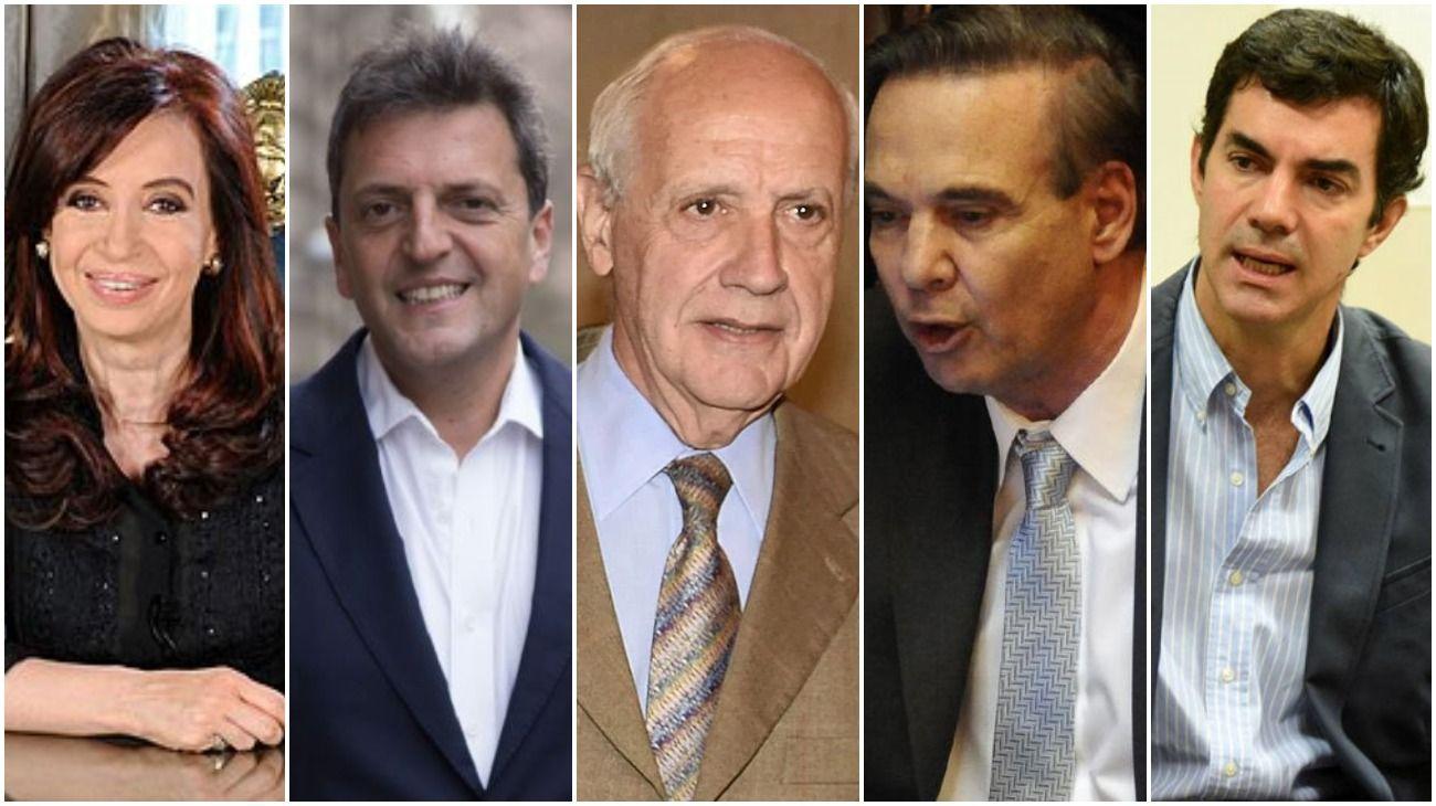 Cristina Fernández de Kirchner, Sergio Massa, Roberto Lavagna, Miguel Ángel Pichetto y Juan Manuel Urtubey.