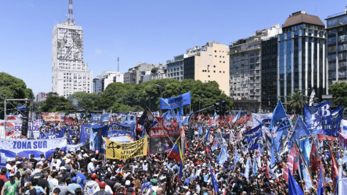Thousands of demonstrators gather on 9 de Julio on Wednesday.