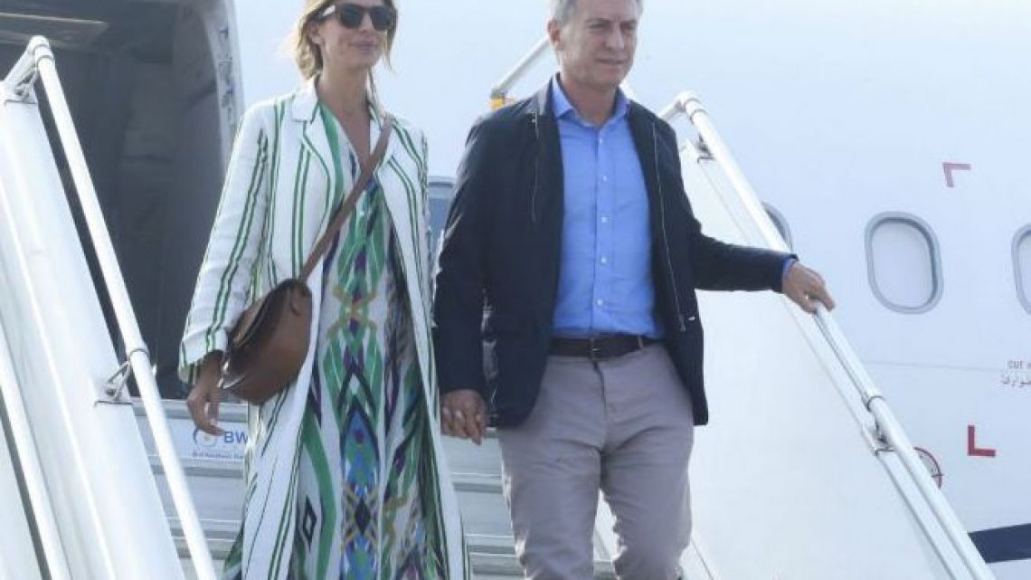 President Mauricio Macri and First Lady Juliana Awada arrive to India in February, 2019.