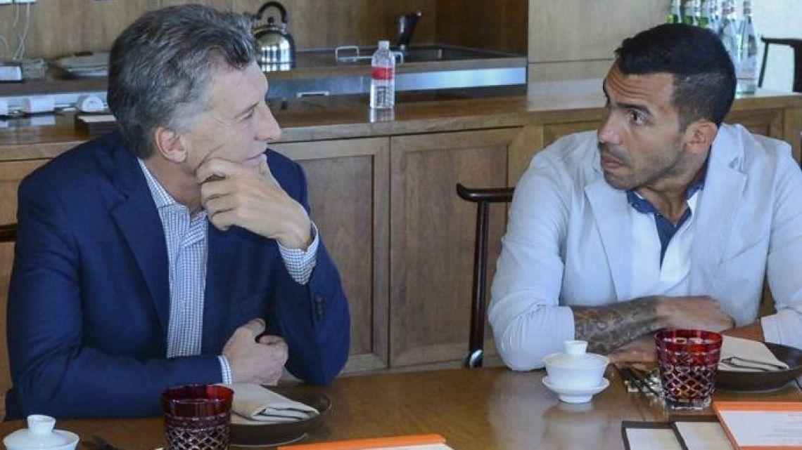 President Mauricio Macri and footballer Carlos Tevez.