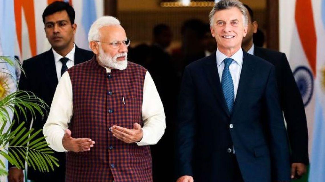 President Mauricio Macri with his Indian counterpart Nardendra Modi.