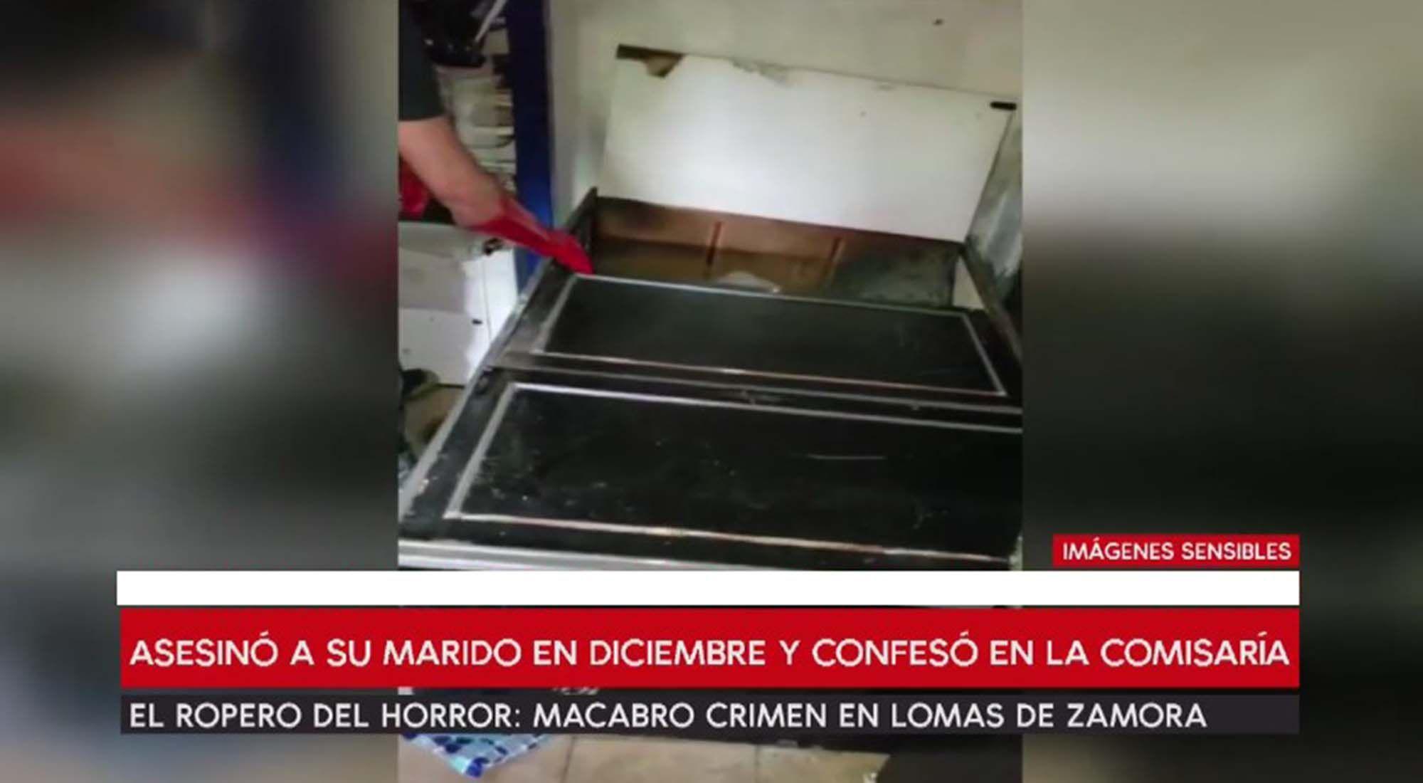 Una mujer mató a la pareja y escondió el cuerpo con cemento en un ropero