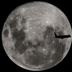 "An Embraer 190-100IGW plane (registration LV-CKZ) of Aerolíneas Argentinas, on a regular flight from Buenos Aires to the city of Bahía Blanca, passes in front of the ""Supermoon"" as seen from Buenos Aires on February 19, 2019."