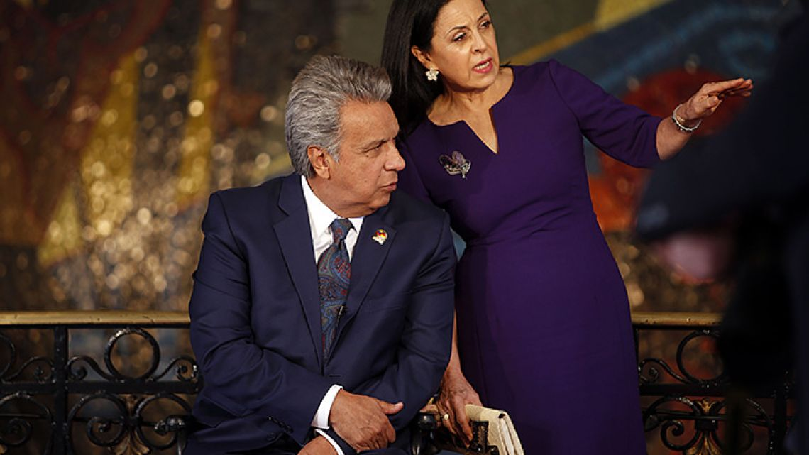 Ecuador President Lenín Moreno speaks with his wife Rocio González at the Carondelet Palace in Quito.