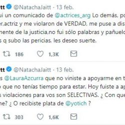 Natacha había criticado al colectivo por dejarla sola.