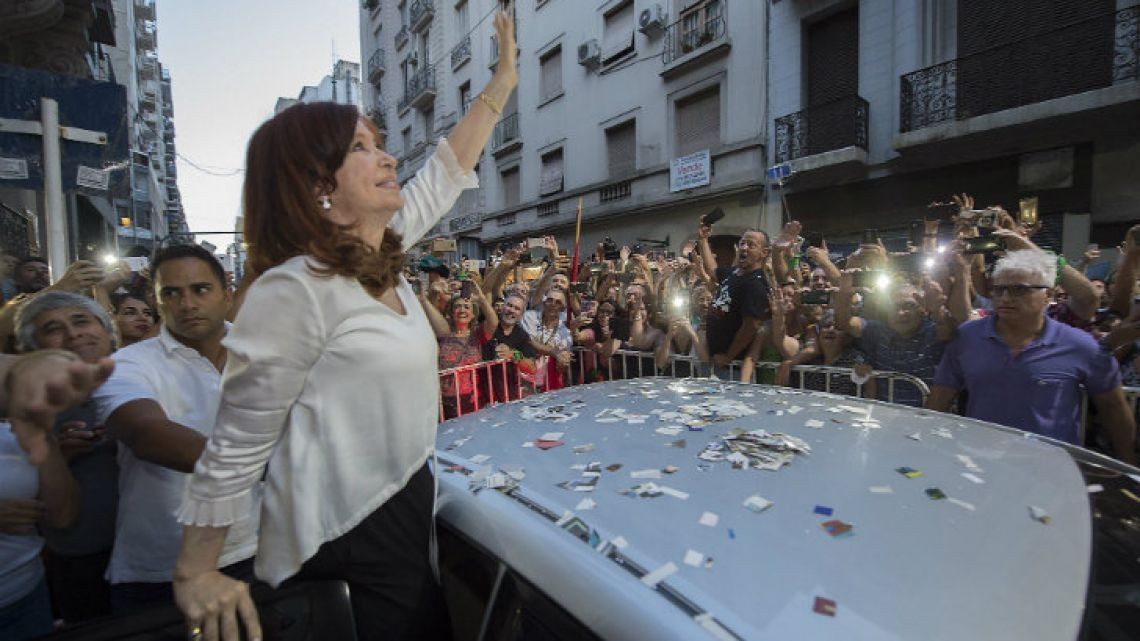 Former president Cristina Fernández de Kirchner waves to supporters, in this photograph posted on her Twitter account this week.