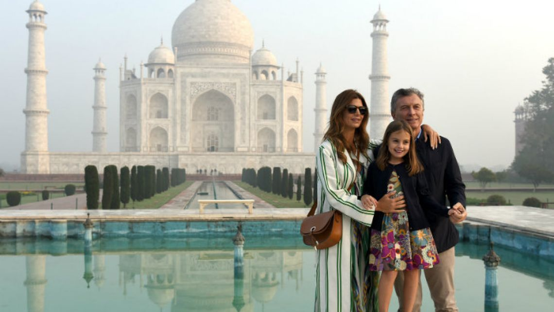 President Mauricio Macri, First Lady Juliana Awada and their daughter Antonia during a visit the Taj Mahal in Agra.