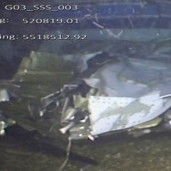 A handout video footage still image released by the UK Air Accidents Investigation Branch (AAIB) on February 25, 2019 and created on February 3, 2019 shows the cabin and break in fuselage from the wreckage of the Piper Malibu aircraft, N264DB, that crashed carrying footballer Emiliano Sala and pilot David Ibbotson.