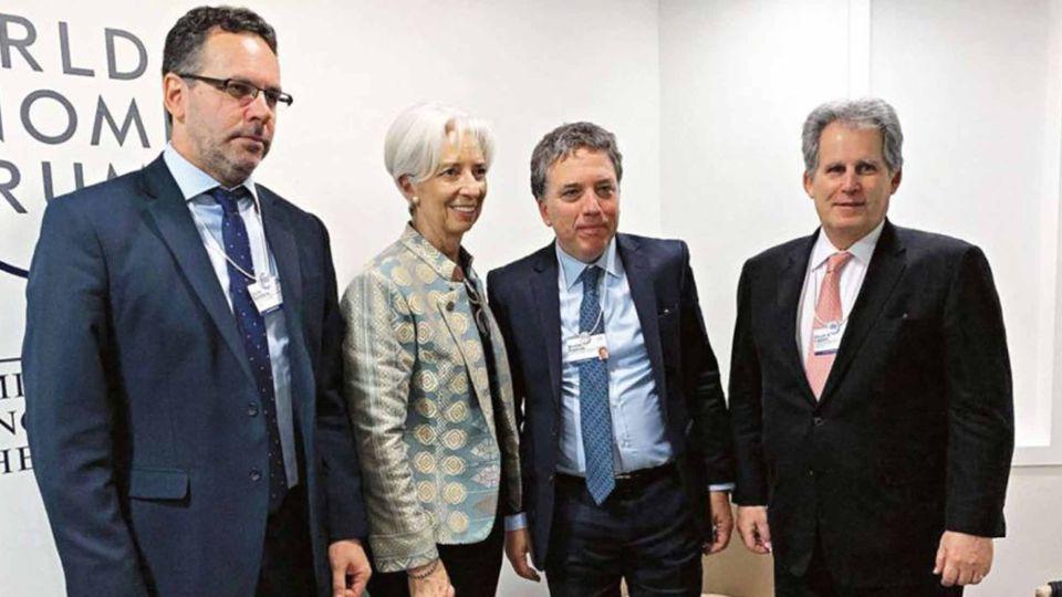 Sandleris, Lagarde, Dujovne y Lipton, en el encuentro que mantuvieron durante el Foro Económico de Davos.