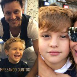 Siempre juntos, Pampita y Benjamín en el primer día de clases de sus hijos.