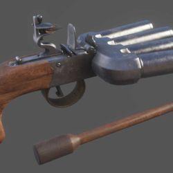 Esta pistola tenía entre tres y seis cañones, cada uno apuntando a una dirección diferente.