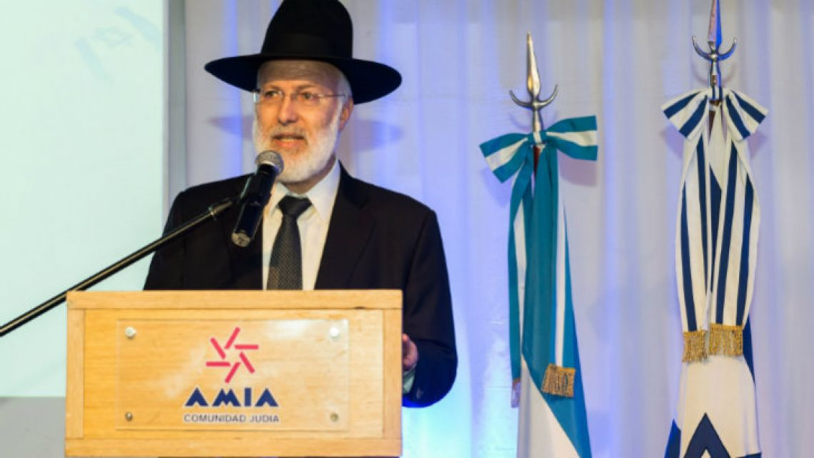 Photo released by AMIA (Argentine Israelite Mutual Association) shows Chief Rabbi Gabriel Davidovich delivering a speech.