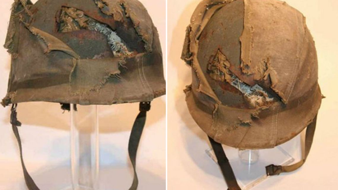 The helmet that saved Argentine soldier Jorge Altieri's life.