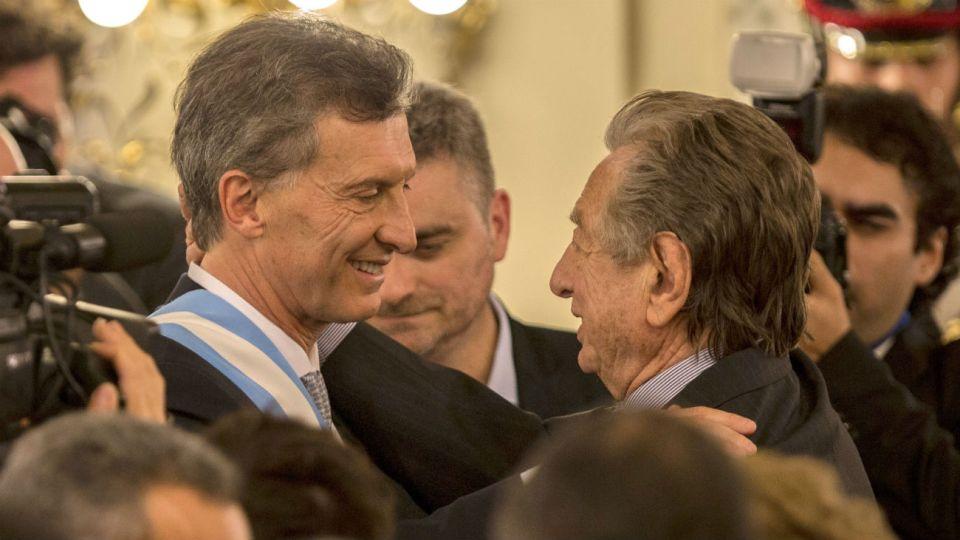 El presidente Mauricio Macri y su padre Franco, en 2015