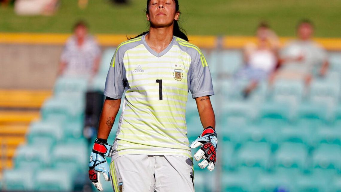 Argentina's goalkeeper Vanina Correa closes her eyes after letting in South Korea's 3rd goal during their Cup of Nations soccer game in Sydney, Thursday, Feb. 28, 2019