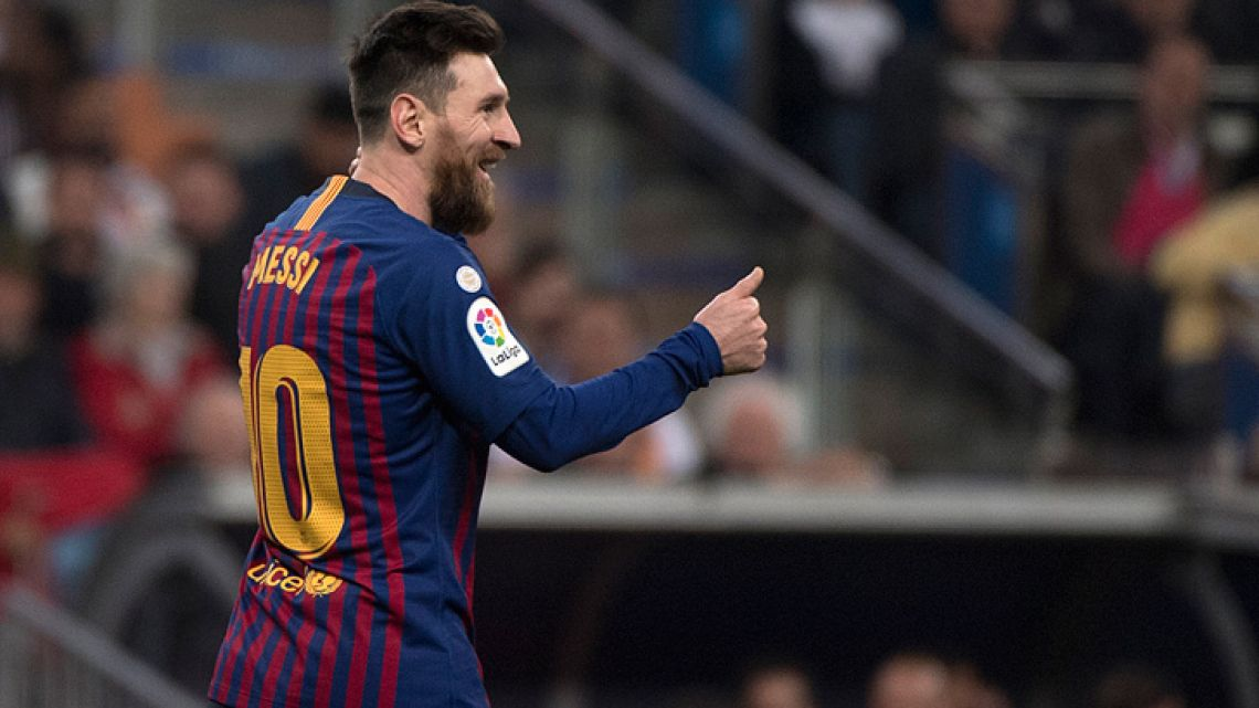 Lionel Messi reacts at the end of the Spanish league football match between Real Madrid CF and FC Barcelona at the Santiago Bernabeu stadium in Madrid on March 2, 2019.