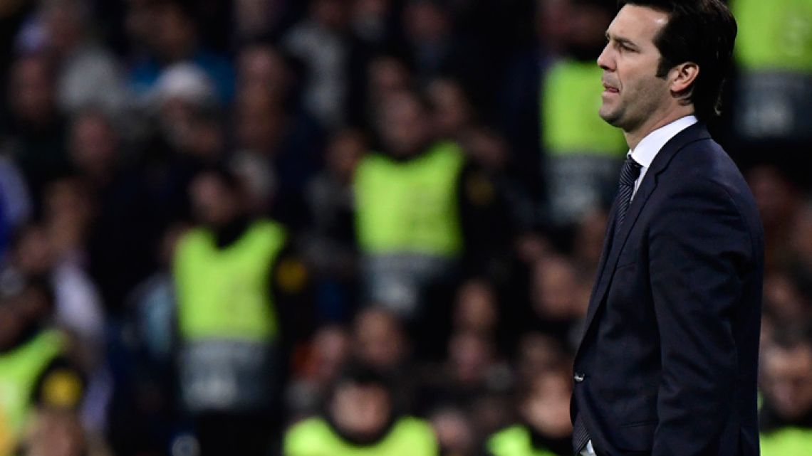Real Madrid coach Santiago Solari reacts during the UEFA Champions League match between Real Madrid CF and Ajax at the Santiago Bernabeu stadium in Madrid on March 5, 2019.