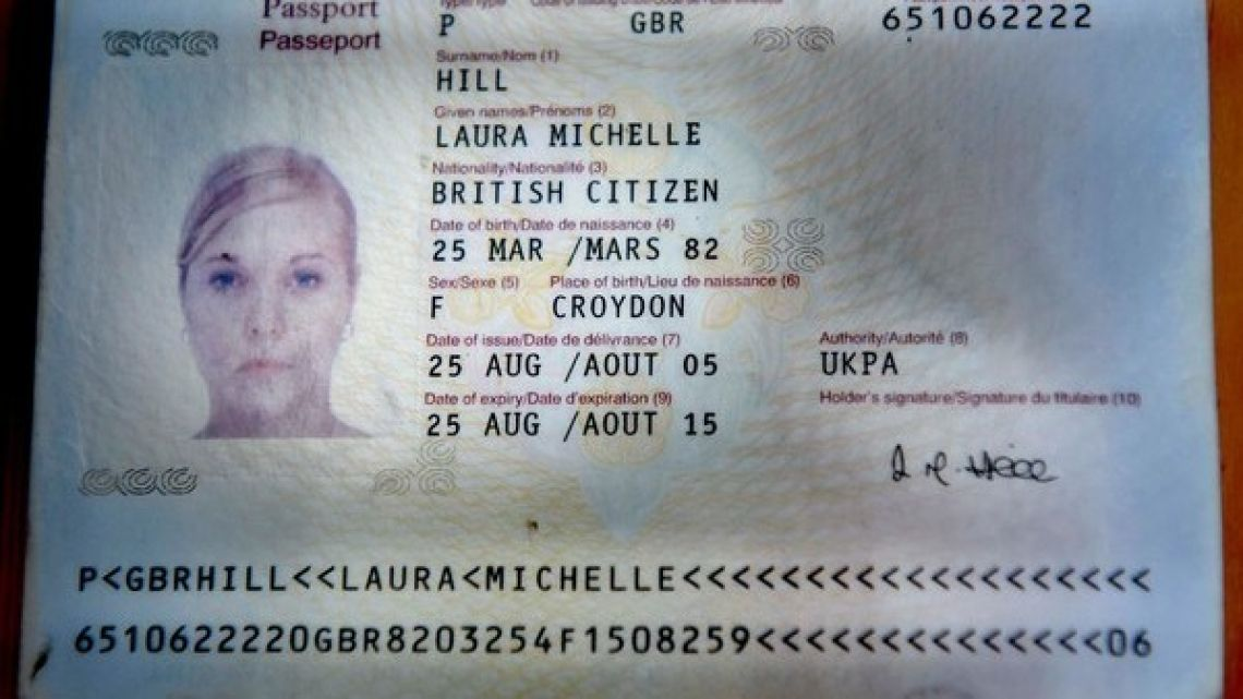 The passport of 25-year-old British dental hygienist Laura Hill, who died in San Telmo on October 1, 2007.