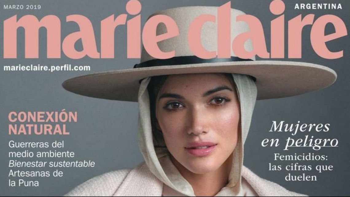 Marie Claire Argentina's March 2019 magazine cover, featuring 23-year-old Argentine model Sofia Reynal.