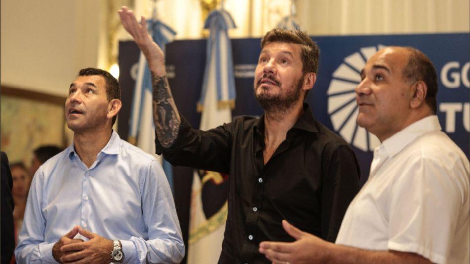 Marcelo Tinelli, Mario Leito y Juan Manzur.