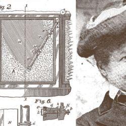 Mary Anderson, la inventora del limpiaparabrisas, junto a su boceto