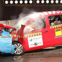 Crash test del Volkswagen Fox, modelo producido en Brasil.