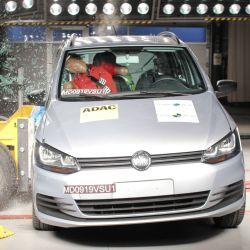 Crash test del Volkswagen Suran, modelo que se dejó de fabricar en la Argentina.