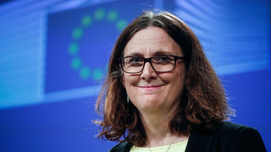 European Union Trade Commissioner Cecilia Malmstrom News Conference As U.S. Imposes Steel Tariffs