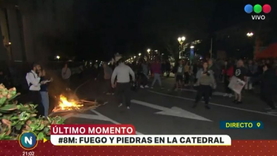 Al finalizar la marcha se registraron incidentes frente a la Catedral metropolitana.