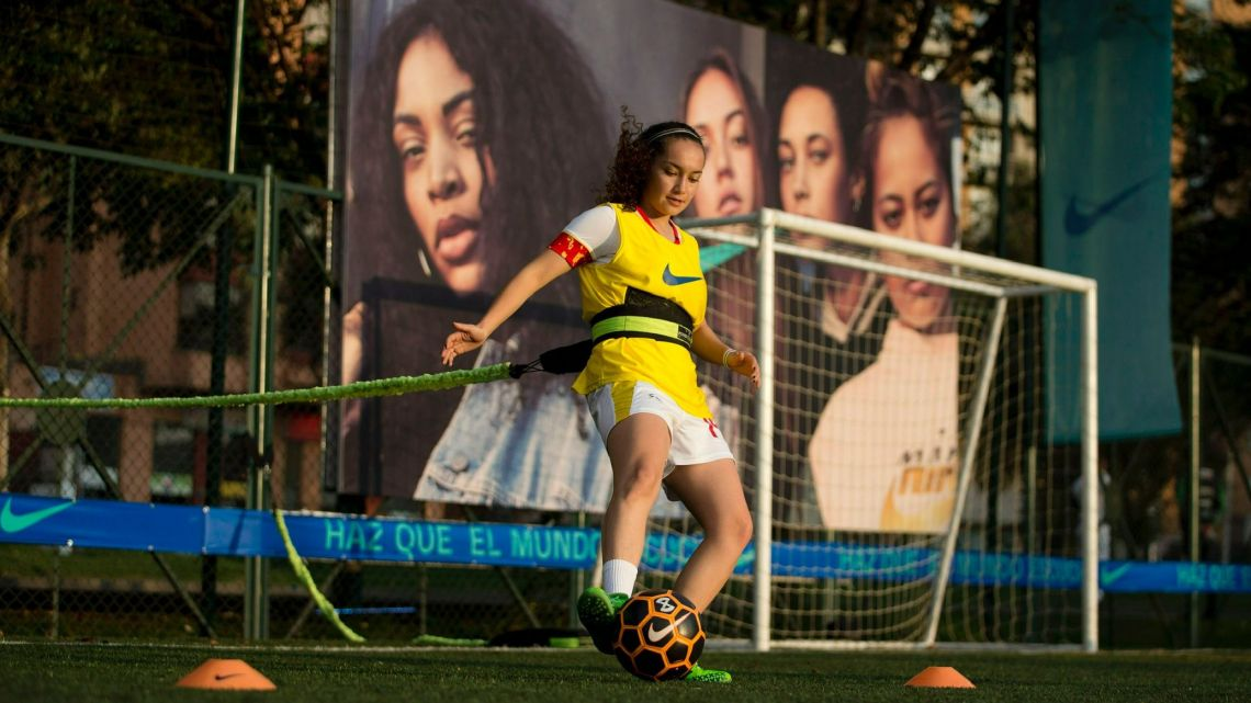 Sara Pulecio, who played for Colombia's soccer club La Equidad, controls the ball during a soccer clinic for professional female players in Bogota, Colombia, Friday, March 8, 2019.