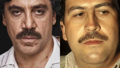 Javier Bardem como Pablo Escobar, en Loving Pablo. Der: El verdadero Pablo Escobar.