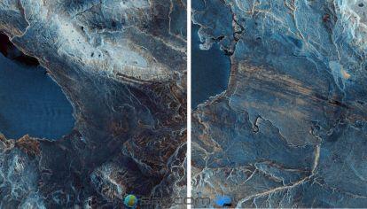 La imagen muestra el Lago Viedma y el Lago Argentino