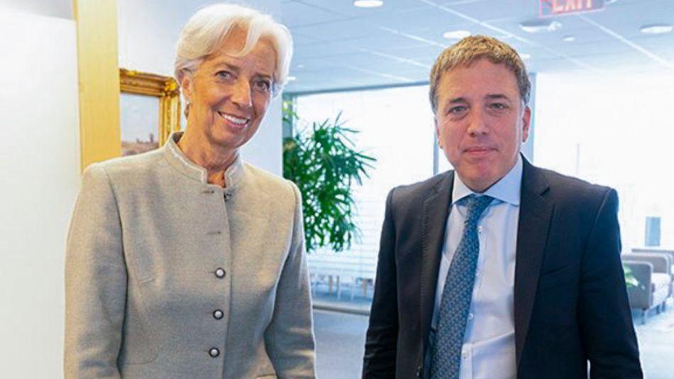 La titular del FMI Christine Lagarde recibió al ministro de Hacienda Nicolás Dujovne en Washington.