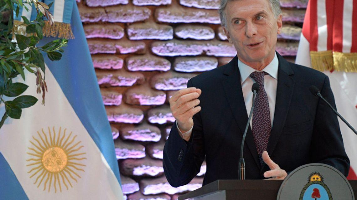 President Mauricio Macri delivers a speech at the Casa Rosada.