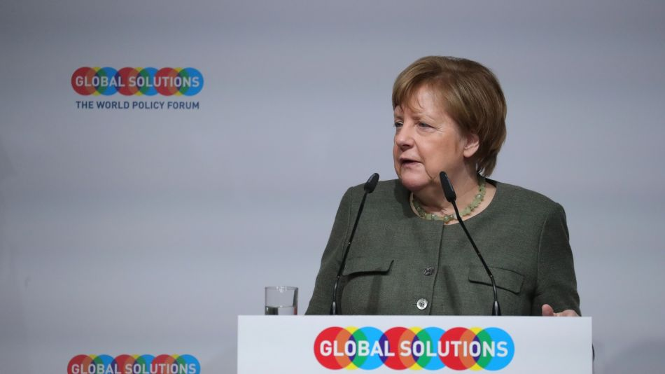 Germany's Chancellor Angela Merkel Delivers Keynote Speech at Global Solutions World Policy Forum